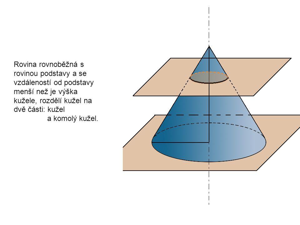 Rovina rovnoběžná s rovinou podstavy a se vzdáleností od podstavy menší než je výška kužele, rozdělí kužel na dvě části: kužel a komolý kužel.