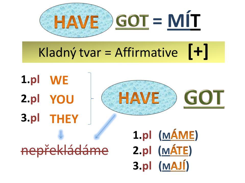 WE THEY YOU 2.pl nepřekládáme 1.pl 3.pl 1.pl 3.pl 2.pl Kladný tvar = Affirmative [+]