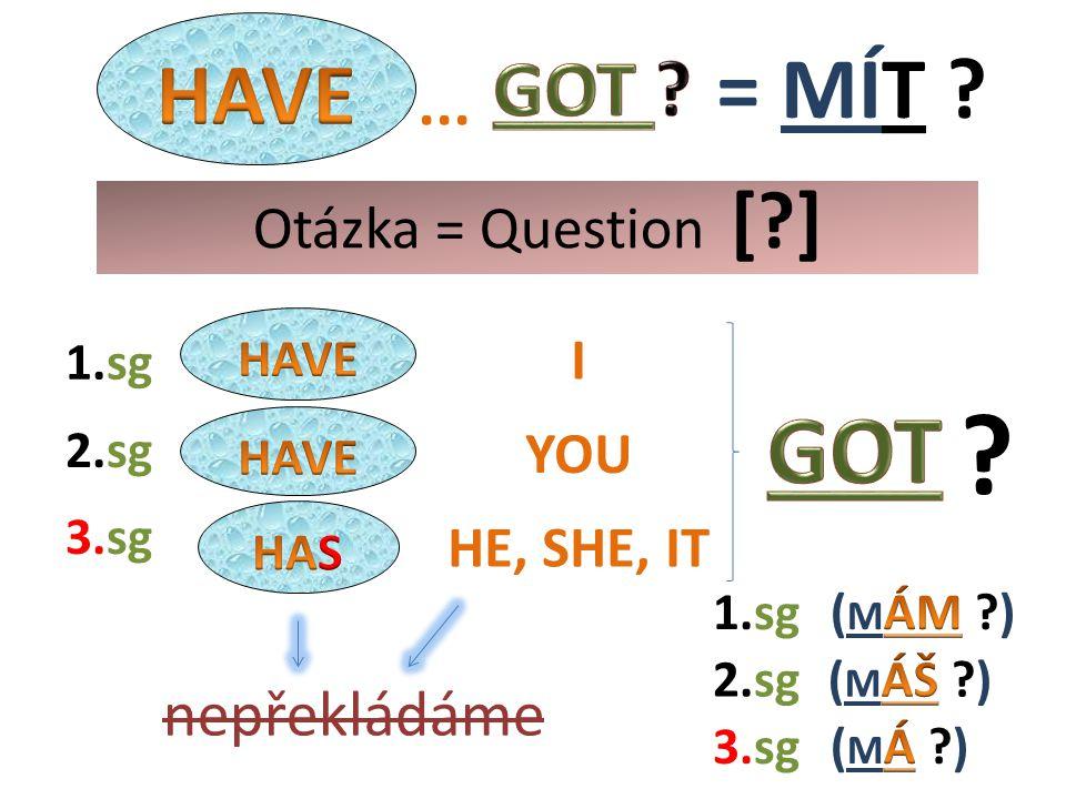 I HE, SHE, IT YOU 2.sg nepřekládáme 1.sg 3.sg 1.sg 3.sg 2.sg Otázka = Question [ ]...