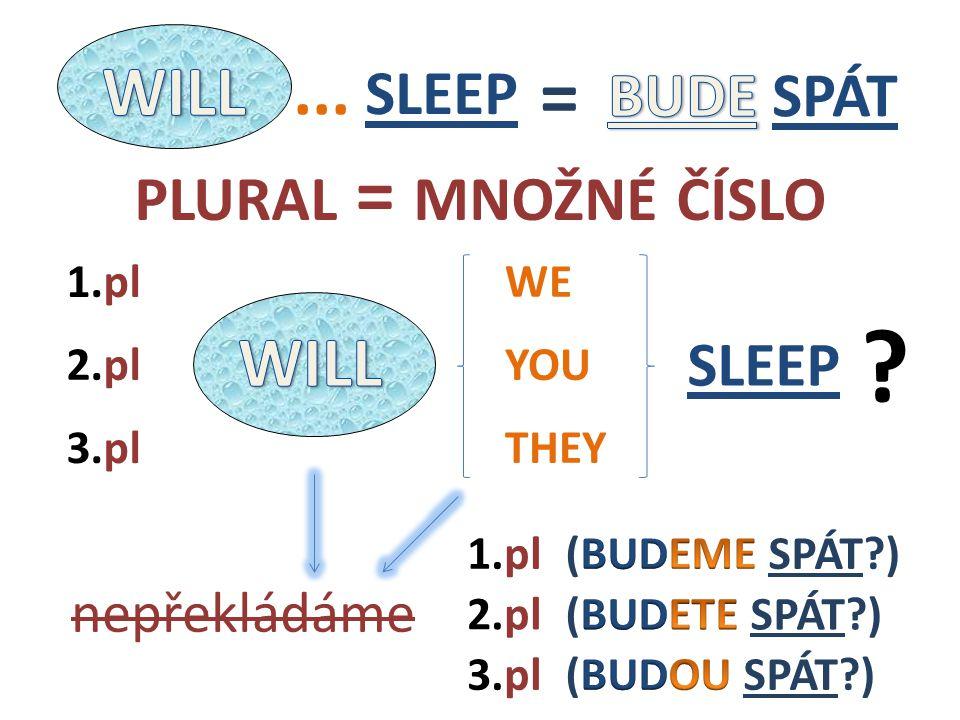 SLEEP WE THEY 2.pl 1.pl 3.pl 1.pl 3.pl 2.pl ? nepřekládáme SLEEP = PLURAL = MNOŽNÉ ČÍSLO... YOU