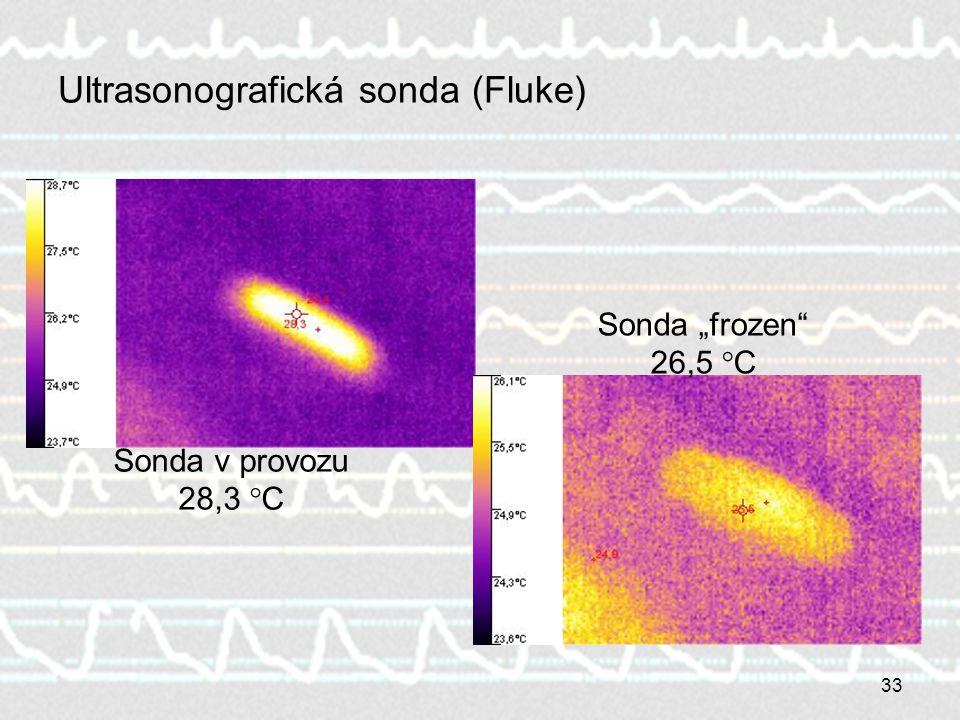 """33 Ultrasonografická sonda (Fluke) Sonda v provozu 28,3 °C Sonda """"frozen"""" 26,5 °C"""