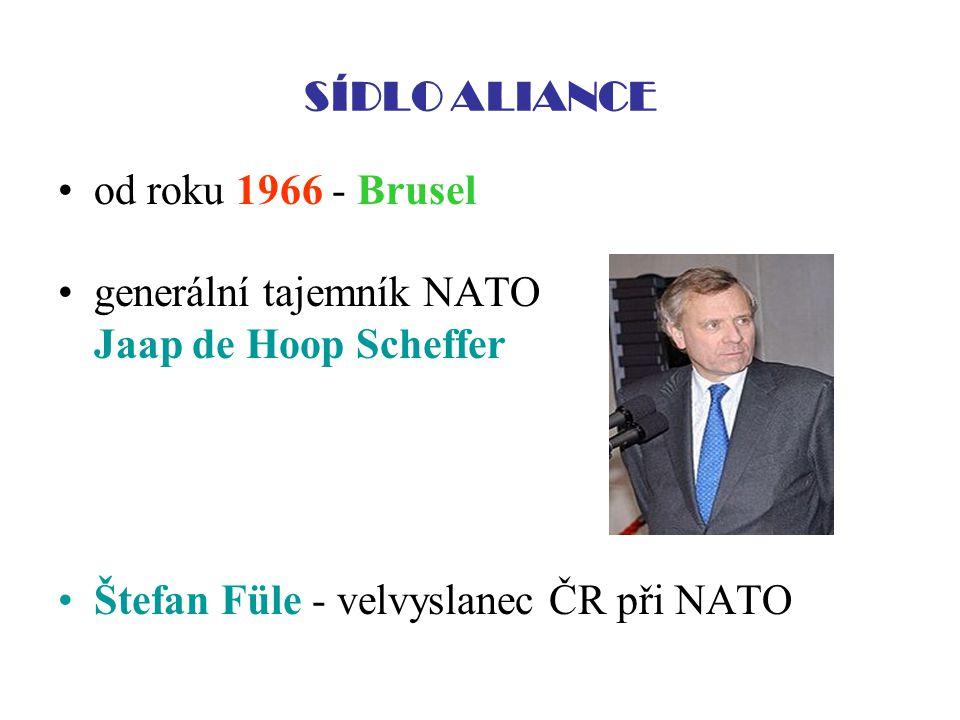 SÍDLO ALIANCE od roku 1966 - Brusel generální tajemník NATO Jaap de Hoop Scheffer Štefan Füle - velvyslanec ČR při NATO