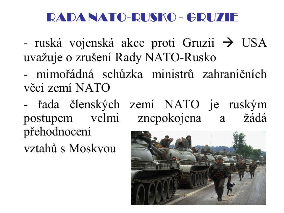 RADA NATO-RUSKO - GRUZIE - ruská vojenská akce proti Gruzii  USA uvažuje o zrušení Rady NATO-Rusko - mimořádná schůzka ministrů zahraničních věcí zem