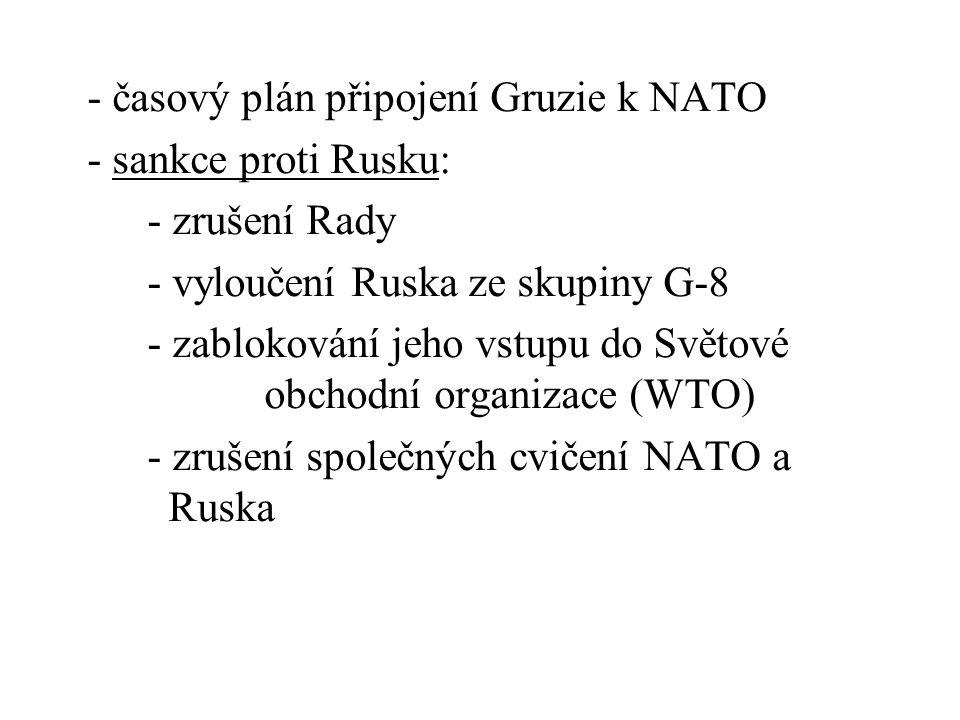 - časový plán připojení Gruzie k NATO - sankce proti Rusku: - zrušení Rady - vyloučení Ruska ze skupiny G-8 - zablokování jeho vstupu do Světové obcho
