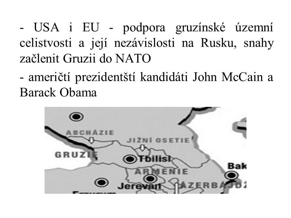 - USA i EU - podpora gruzínské územní celistvosti a její nezávislosti na Rusku, snahy začlenit Gruzii do NATO - američtí prezidentští kandidáti John M