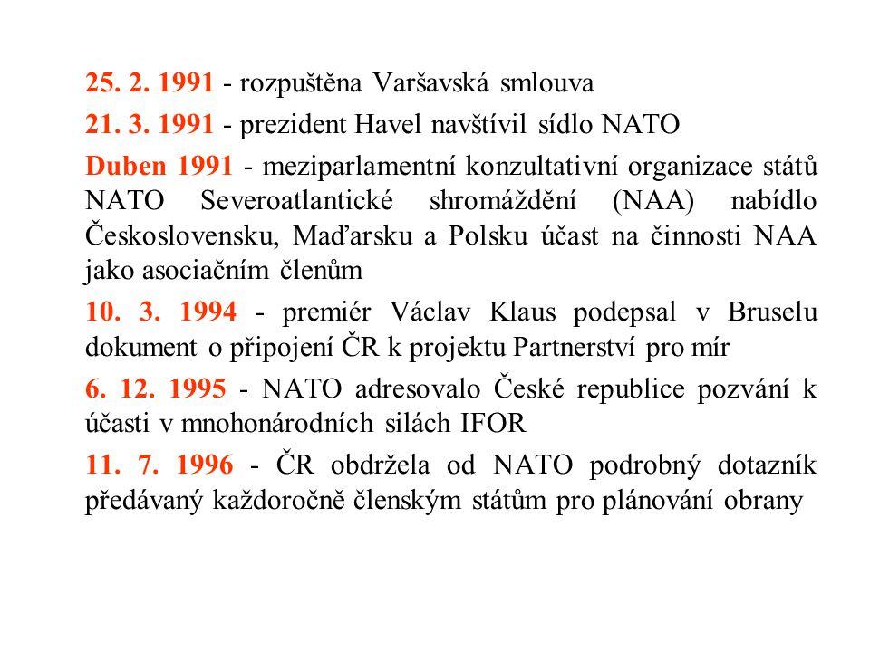 25. 2. 1991 - rozpuštěna Varšavská smlouva 21. 3. 1991 - prezident Havel navštívil sídlo NATO Duben 1991 - meziparlamentní konzultativní organizace st
