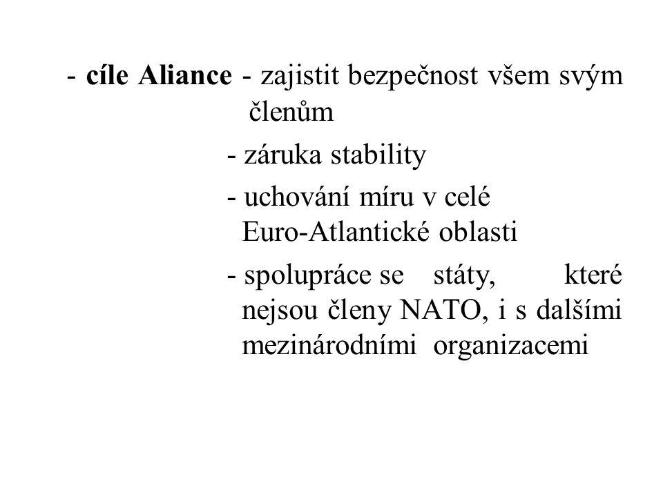 - cíle Aliance - zajistit bezpečnost všem svým členům - záruka stability - uchování míru v celé Euro-Atlantické oblasti - spolupráce se státy, které n