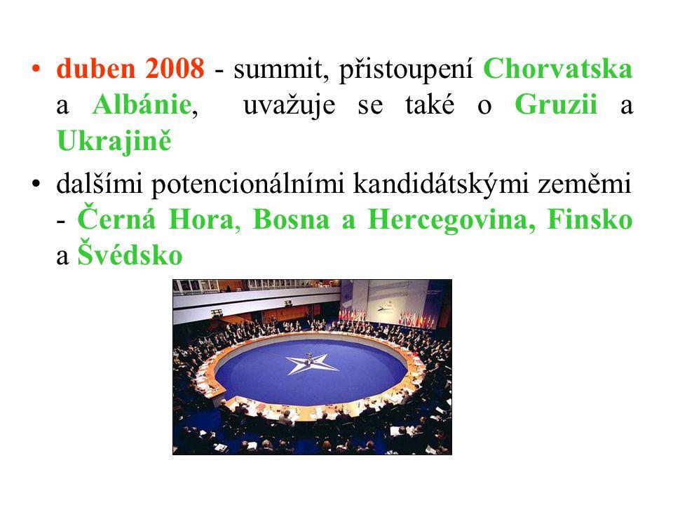 duben 2008 - summit, přistoupení Chorvatska a Albánie, uvažuje se také o Gruzii a Ukrajině dalšími potencionálními kandidátskými zeměmi - Černá Hora,