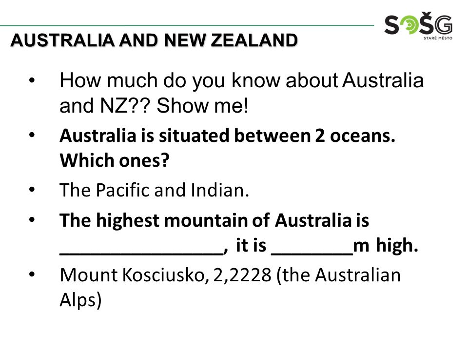 How much do you know about Australia and NZ . Show me.