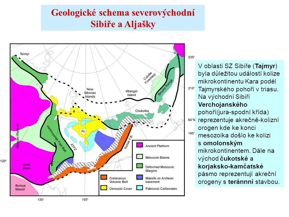 Geologické schema severovýchodní Sibiře a Aljašky V oblasti SZ Sibiře (Tajmyr) byla důležitou událostí kolize mikrokontinentu Kara podél Tajmyrského p