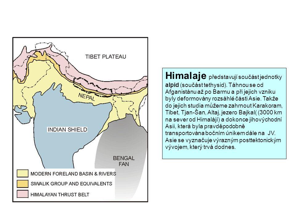 Himalaje představují součást jednotky alpid (součást tethysid).