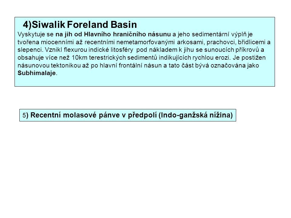 4)Siwalik Foreland Basin Vyskytuje se na jih od Hlavního hraničního násunu a jeho sedimentární výplň je tvořena miocenními až recentními nemetamorfovanými arkosami, prachovci, břidlicemi a slepenci.