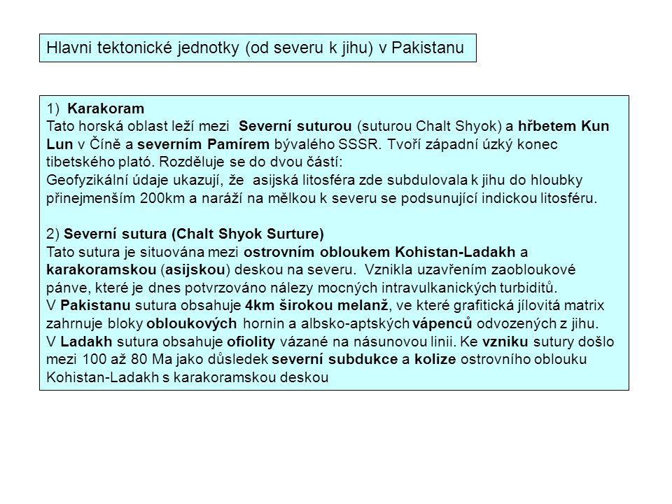 Hlavni tektonické jednotky (od severu k jihu) v Pakistanu 1) Karakoram Tato horská oblast leží mezi Severní suturou (suturou Chalt Shyok) a hřbetem Ku