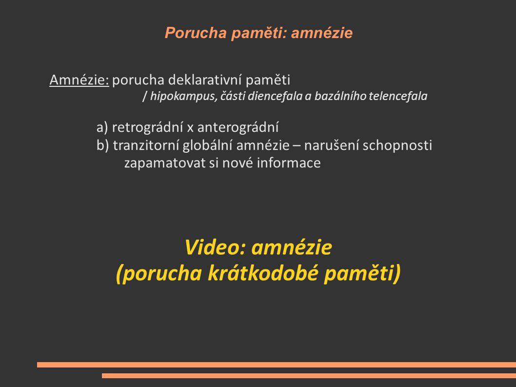 Porucha paměti: amnézie Amnézie: porucha deklarativní paměti / hipokampus, části diencefala a bazálního telencefala a) retrográdní x anterográdní b) t