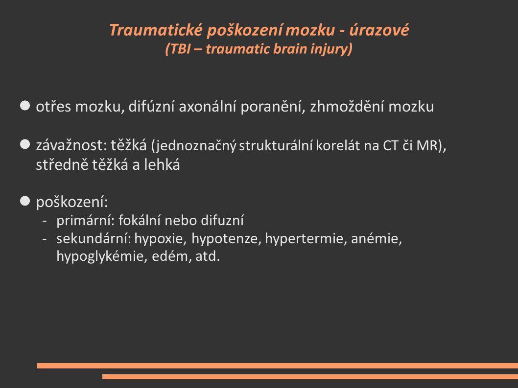 Traumatické poškození mozku - úrazové (TBI – traumatic brain injury) otřes mozku, difúzní axonální poranění, zhmoždění mozku závažnost: těžká (jednozn