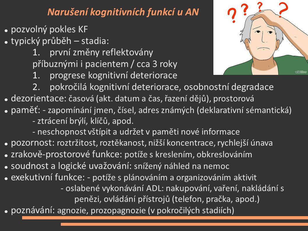 Narušení kognitivních funkcí u AN pozvolný pokles KF typický průběh – stadia: 1.první změny reflektovány příbuznými i pacientem / cca 3 roky 1.progres