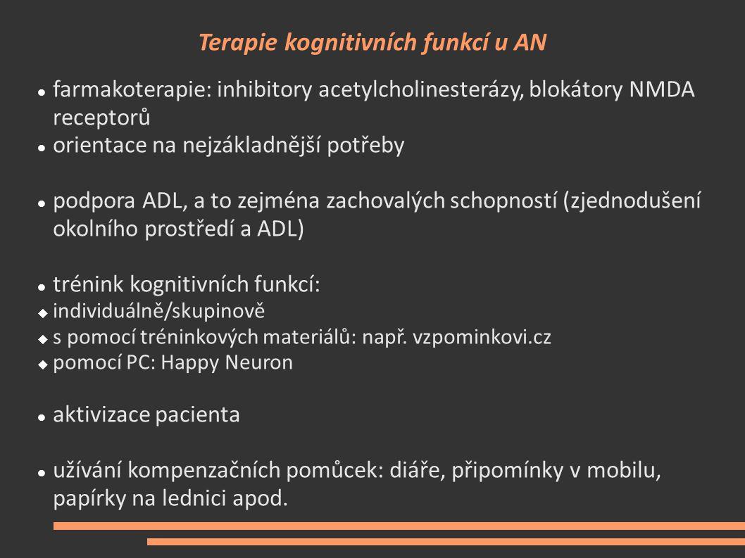 Terapie kognitivních funkcí u AN farmakoterapie: inhibitory acetylcholinesterázy, blokátory NMDA receptorů orientace na nejzákladnější potřeby podpora