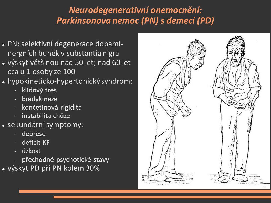 Neurodegenerativní onemocnění: Parkinsonova nemoc (PN) s demecí (PD) PN: selektivní degenerace dopami- nergních buněk v substantia nigra výskyt většin