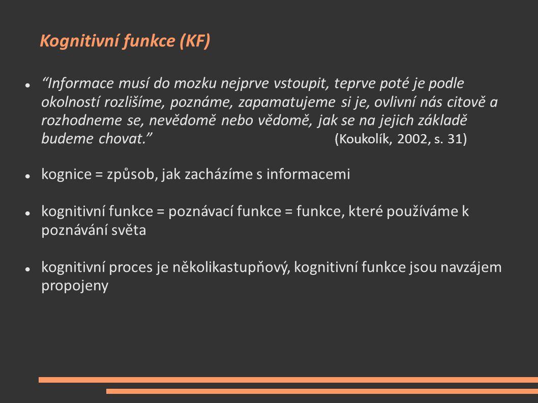 Funkční systémy mozku: kognitivní, motorické a exekutivní funkce Vybrané funkční systémy mozku (Stuss & Benson in Koukolík, 2002) : 1.
