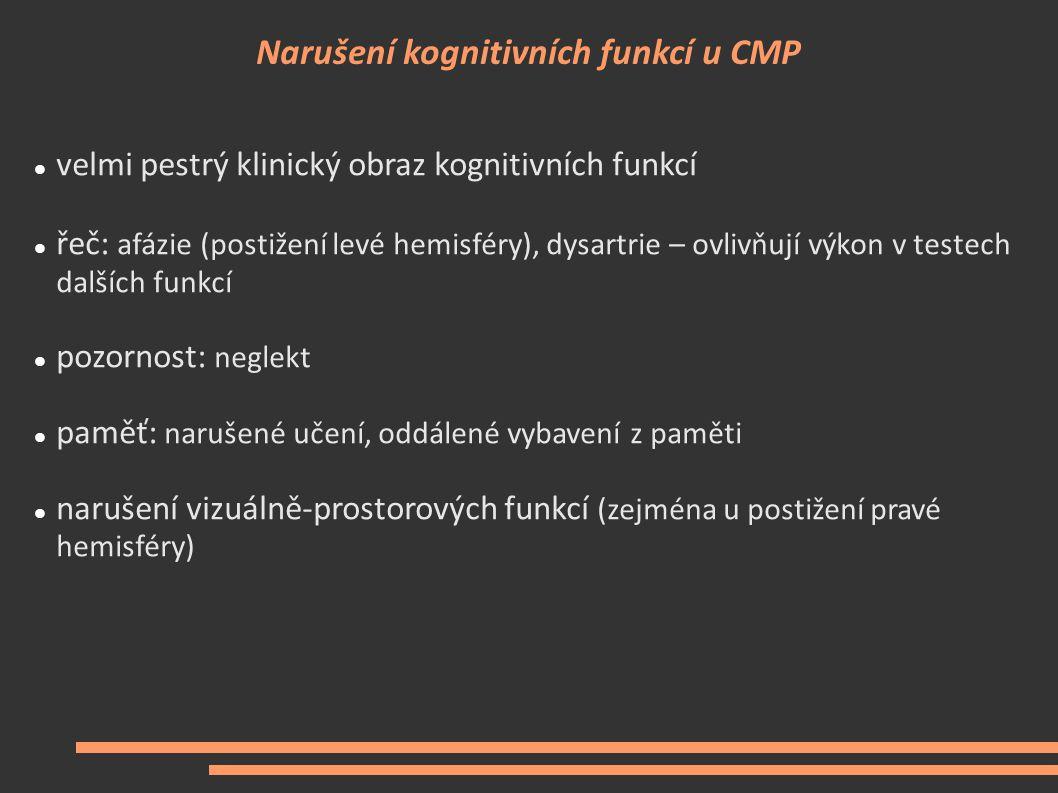Narušení kognitivních funkcí u CMP velmi pestrý klinický obraz kognitivních funkcí řeč: afázie (postižení levé hemisféry), dysartrie – ovlivňují výkon