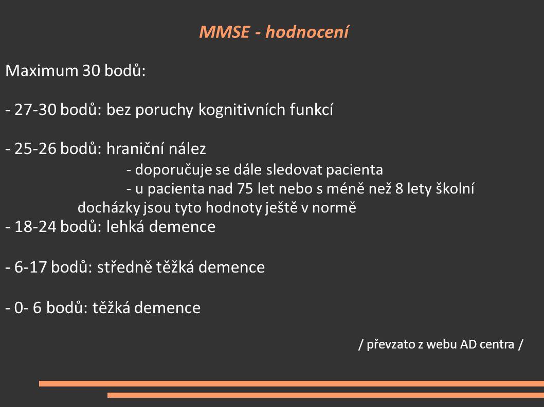 MMSE - hodnocení Maximum 30 bodů: - 27-30 bodů: bez poruchy kognitivních funkcí - 25-26 bodů: hraniční nález - doporučuje se dále sledovat pacienta -