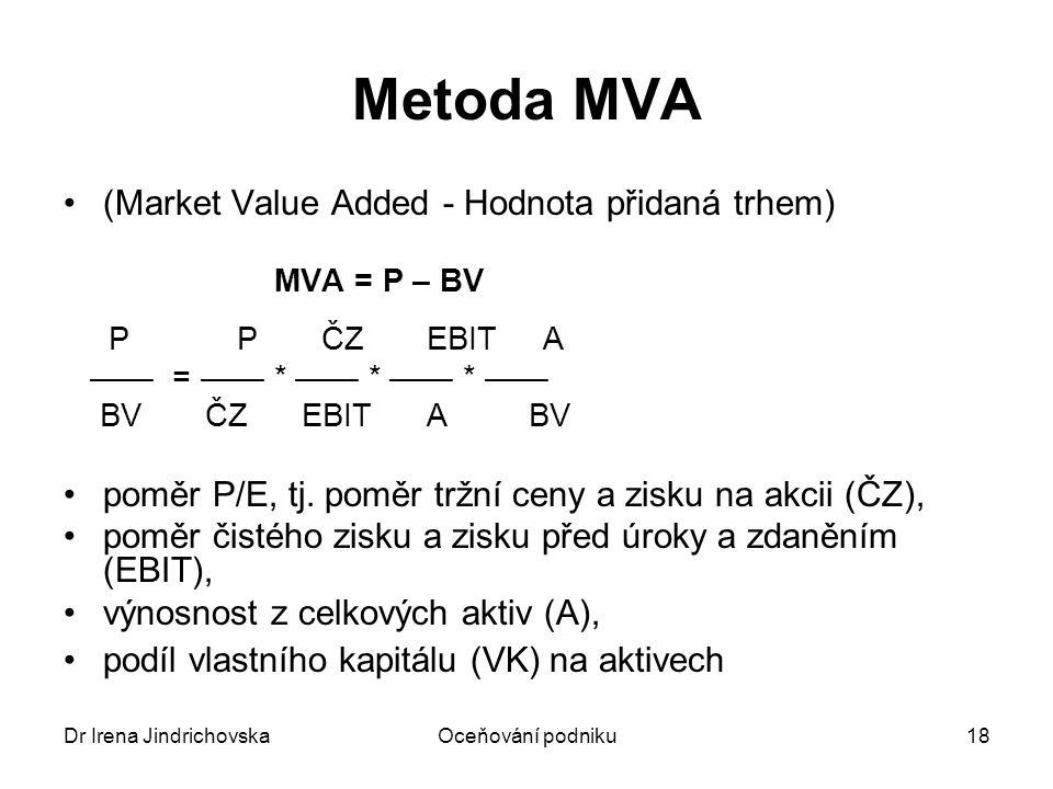 Dr Irena JindrichovskaOceňování podniku18 Metoda MVA (Market Value Added - Hodnota přidaná trhem) MVA = P – BV P P ČZ EBIT A —— = —— * —— * —— * —— BV