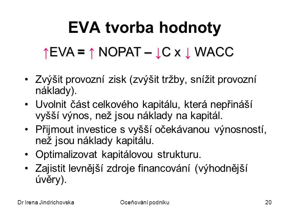 Dr Irena JindrichovskaOceňování podniku20 EVA tvorba hodnoty Zvýšit provozní zisk (zvýšit tržby, snížit provozní náklady). Uvolnit část celkového kapi