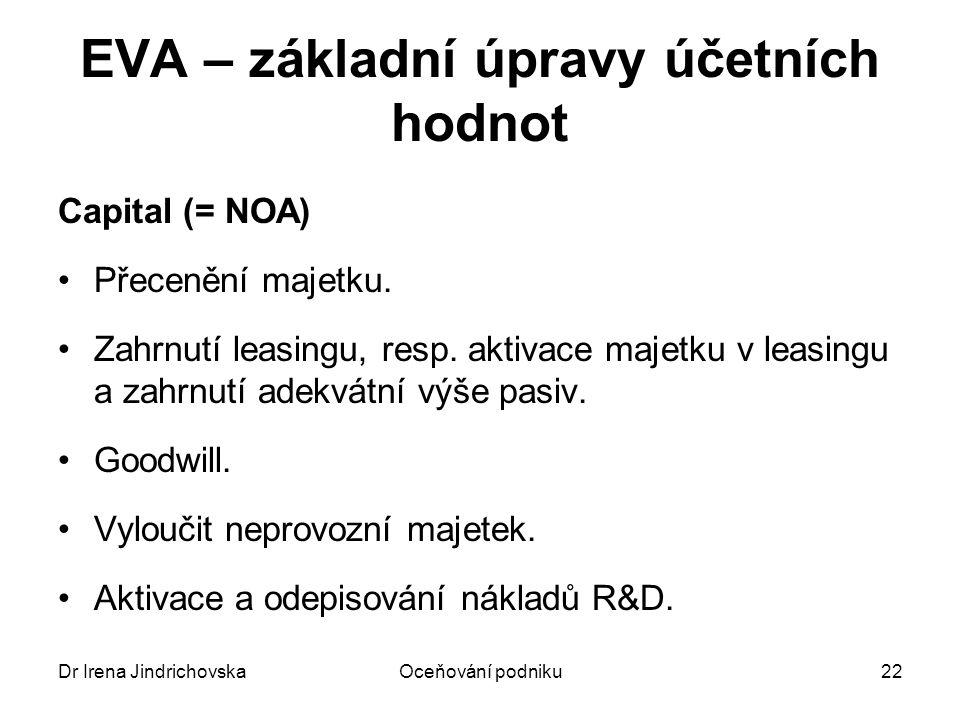 Dr Irena JindrichovskaOceňování podniku23 EVA – úpravy účetních hodnot NOPAT Vychází z účetního provozního zisku.