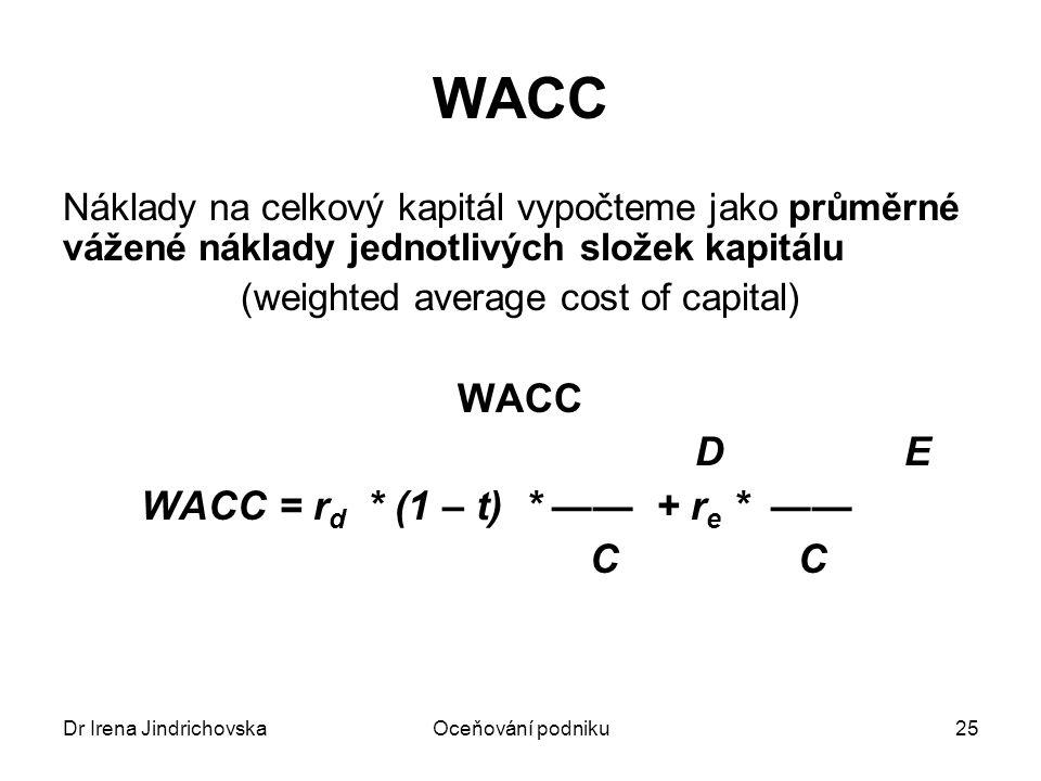 Dr Irena JindrichovskaOceňování podniku25 WACC Náklady na celkový kapitál vypočteme jako průměrné vážené náklady jednotlivých složek kapitálu (weighte