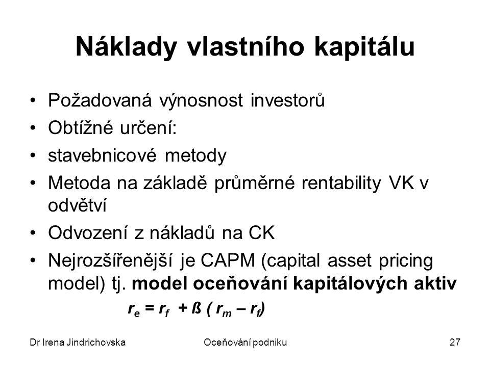 Dr Irena JindrichovskaOceňování podniku27 Náklady vlastního kapitálu Požadovaná výnosnost investorů Obtížné určení: stavebnicové metody Metoda na zákl