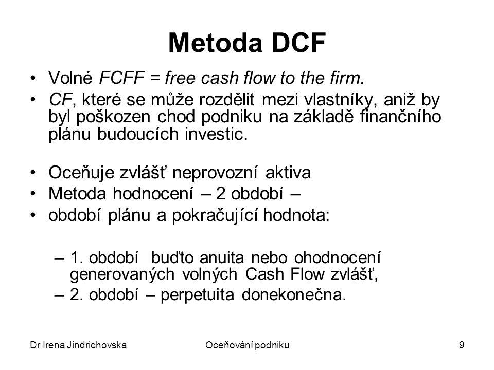 Dr Irena JindrichovskaOceňování podniku10 Metoda DCF (2) Diskontované odhadnuté hotovostní toky + současná hodnota proudu konstantních hotovostních toků donekonečna Hb = ∑ FCFF /(1 + r) t + PH/(1 + r) T PH = FCFF T+1 / r Brutto hodnota = hodnota celého podniku Netto hodnota = hodnota vlastního kapitálu (tj.