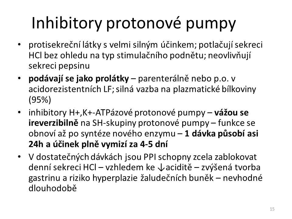 Inhibitory protonové pumpy protisekreční látky s velmi silným účinkem; potlačují sekreci HCl bez ohledu na typ stimulačního podnětu; neovlivňují sekre