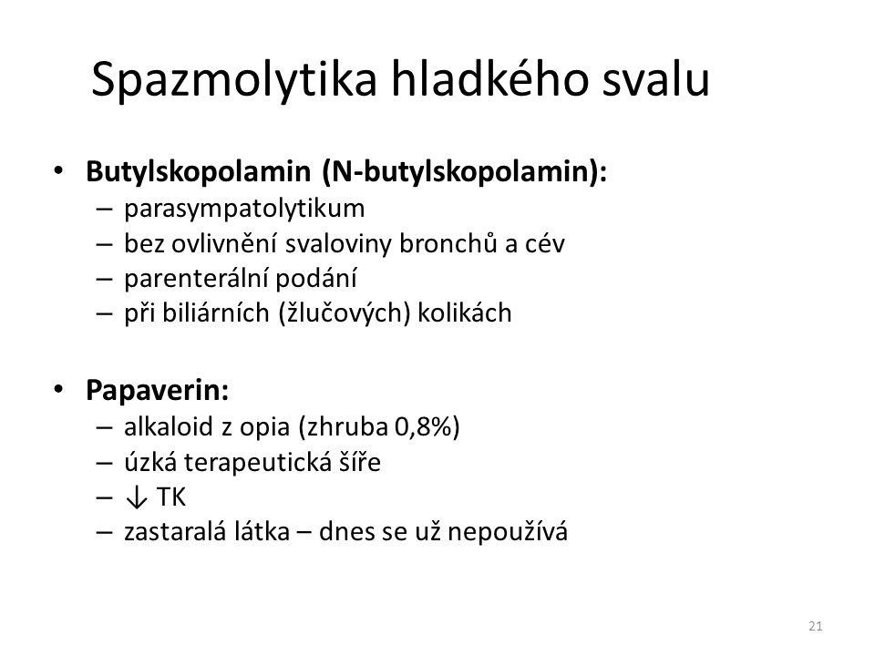 Spazmolytika hladkého svalu Butylskopolamin (N-butylskopolamin): – parasympatolytikum – bez ovlivnění svaloviny bronchů a cév – parenterální podání –