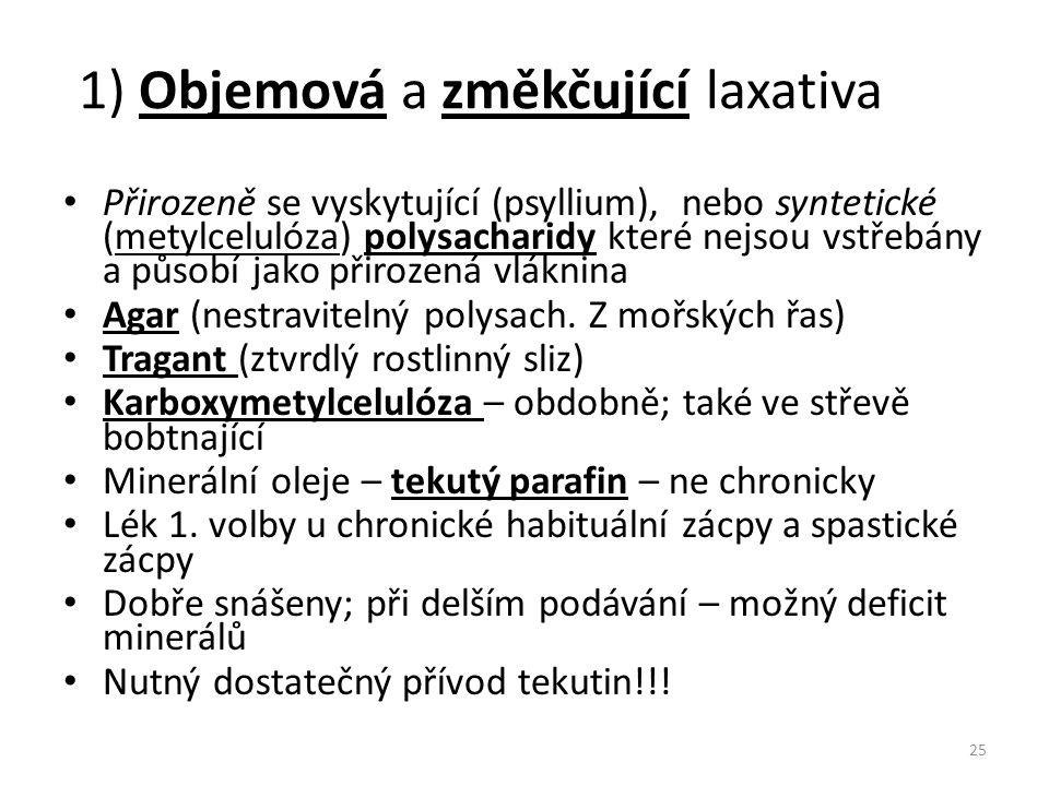 1) Objemová a změkčující laxativa Přirozeně se vyskytující (psyllium), nebo syntetické (metylcelulóza) polysacharidy které nejsou vstřebány a působí j