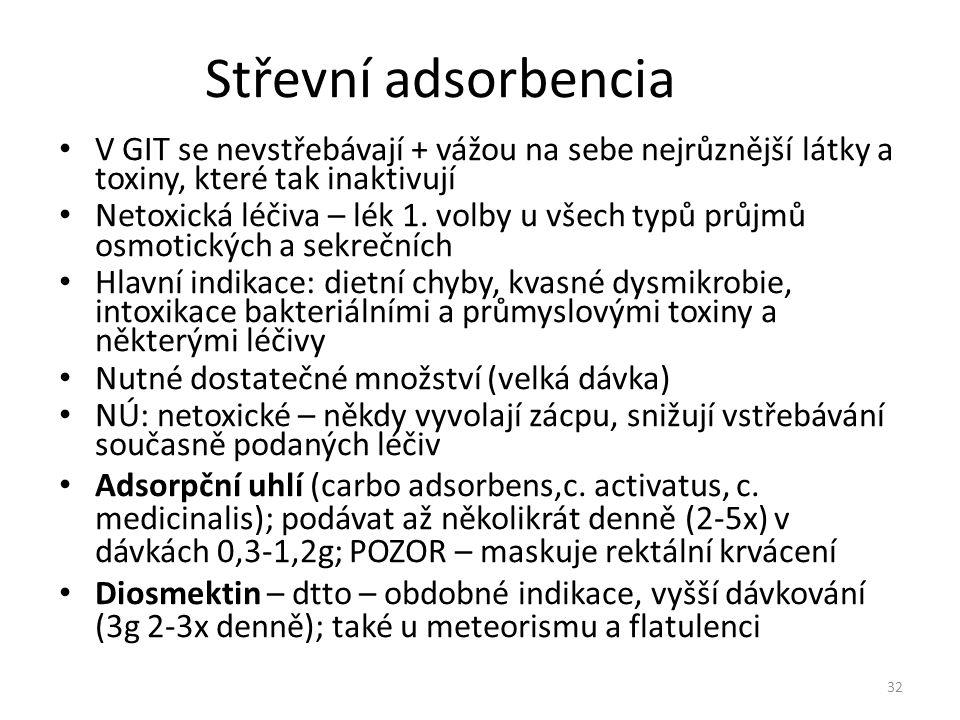 Střevní adsorbencia V GIT se nevstřebávají + vážou na sebe nejrůznější látky a toxiny, které tak inaktivují Netoxická léčiva – lék 1. volby u všech ty