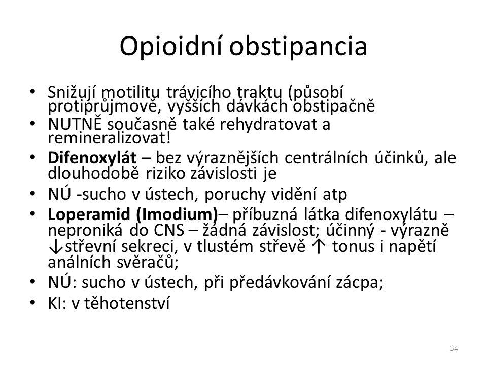 Opioidní obstipancia Snižují motilitu trávicího traktu (působí protiprůjmově, vyšších dávkách obstipačně NUTNĚ současně také rehydratovat a reminerali