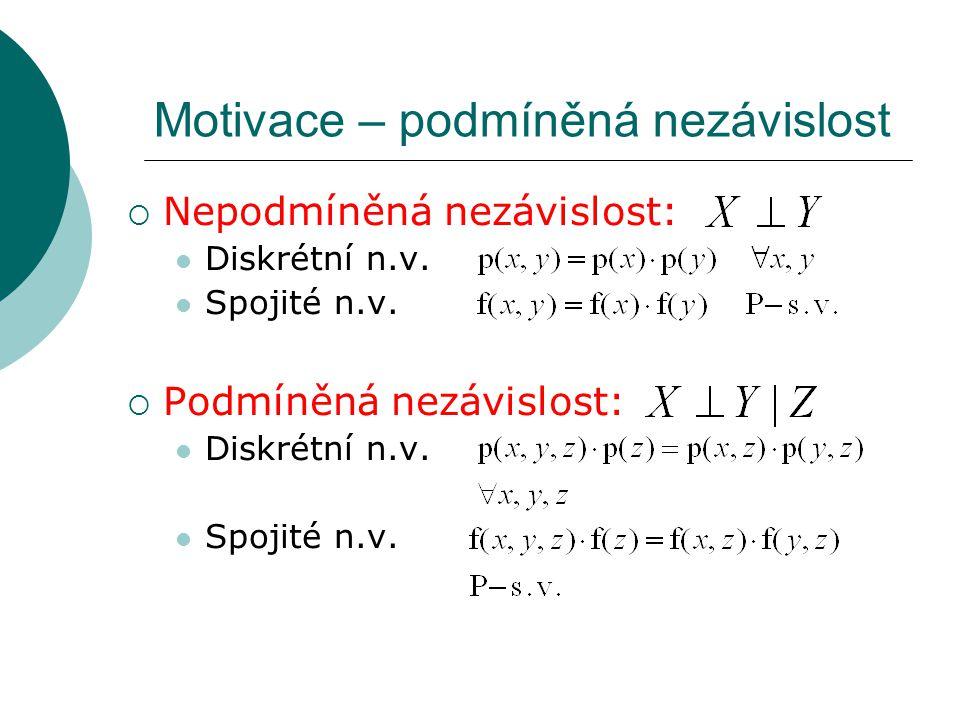 Motivace – podmíněná nezávislost  Nepodmíněná nezávislost: Diskrétní n.v. Spojité n.v.  Podmíněná nezávislost: Diskrétní n.v. Spojité n.v.