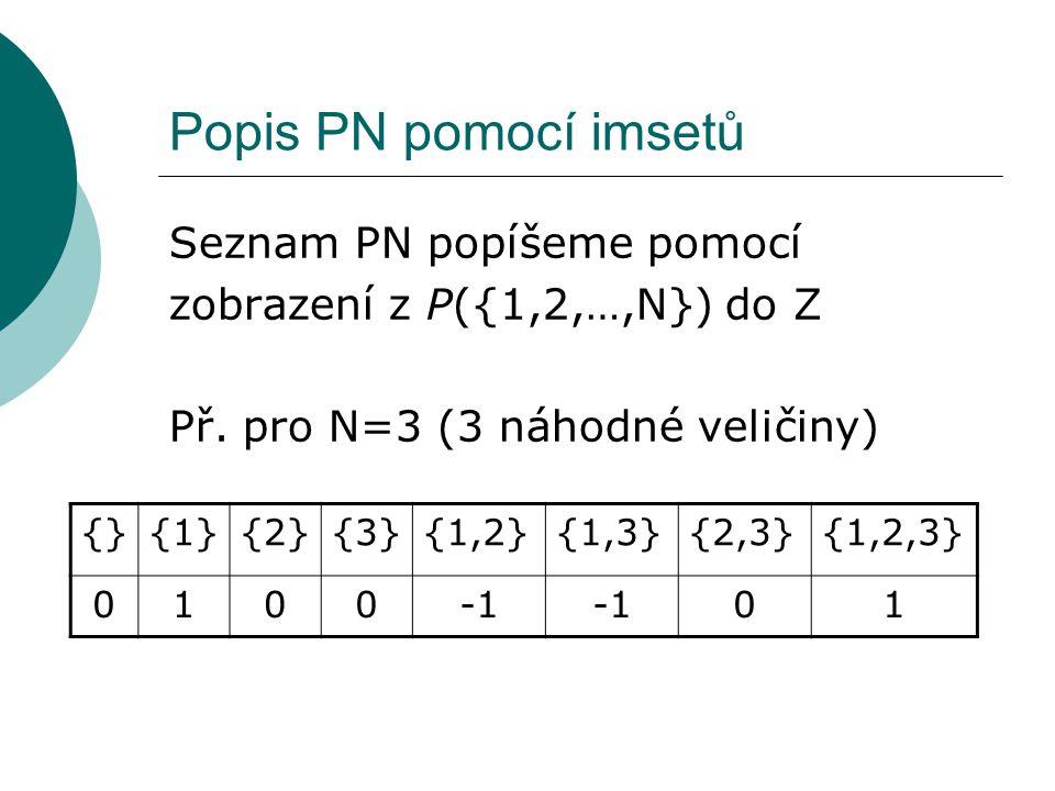 Popis PN pomocí imsetů Seznam PN popíšeme pomocí zobrazení z P({1,2,…,N}) do Z Př. pro N=3 (3 náhodné veličiny) {}{1}{2}{3}{1,2}{1,3}{2,3}{1,2,3} 0100