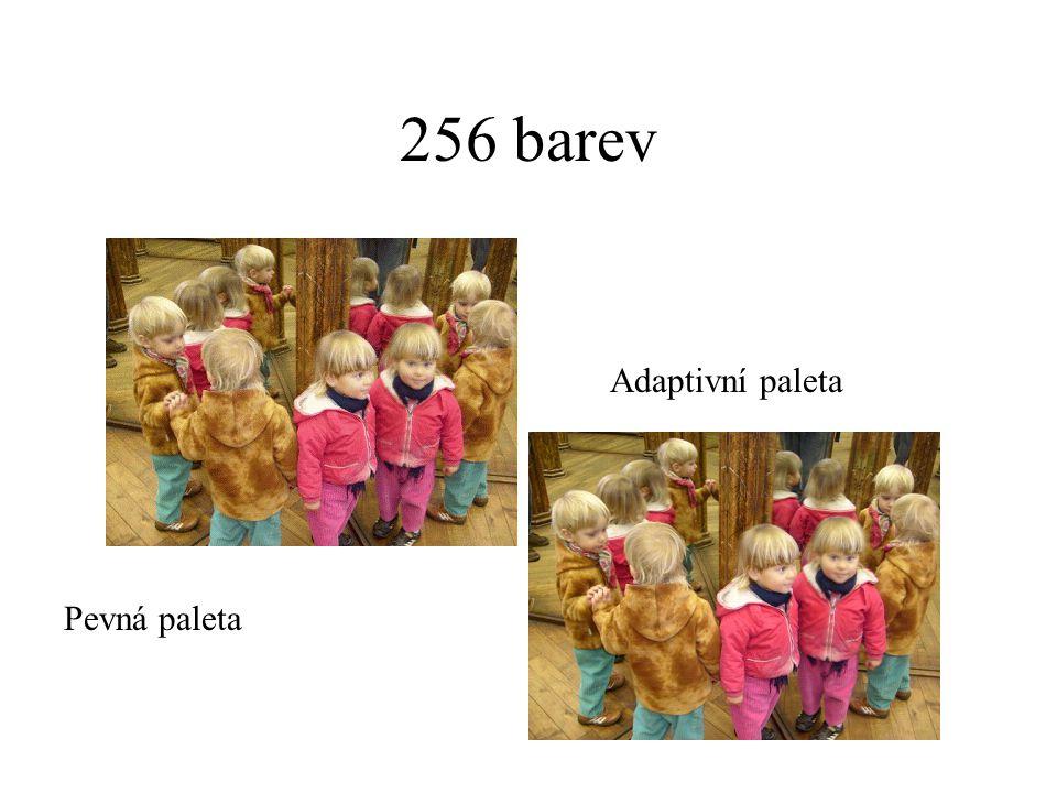 256 barev Pevná paleta Adaptivní paleta
