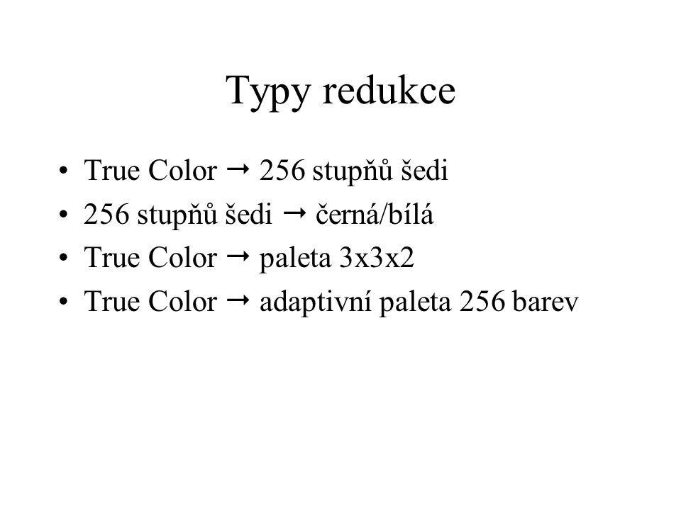 Typy redukce True Color  256 stupňů šedi 256 stupňů šedi  černá/bílá True Color  paleta 3x3x2 True Color  adaptivní paleta 256 barev