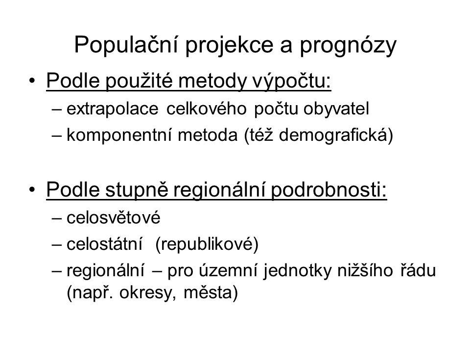 Populační projekce a prognózy Podle použité metody výpočtu: –extrapolace celkového počtu obyvatel –komponentní metoda (též demografická) Podle stupně regionální podrobnosti: –celosvětové –celostátní (republikové) –regionální – pro územní jednotky nižšího řádu (např.