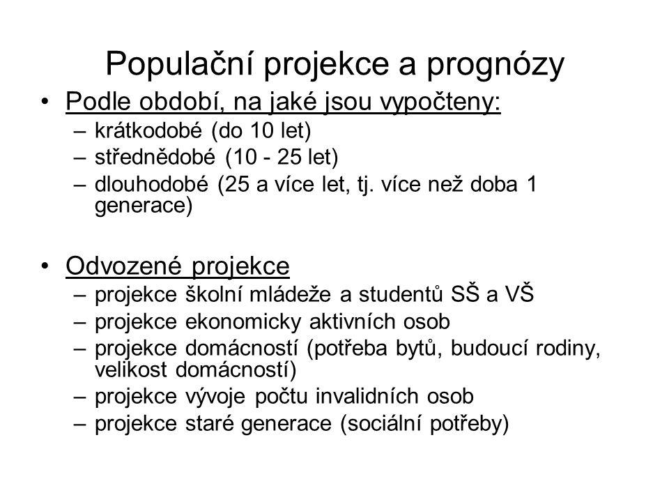 Populační projekce a prognózy Podle období, na jaké jsou vypočteny: –krátkodobé (do 10 let) –střednědobé (10 - 25 let) –dlouhodobé (25 a více let, tj.