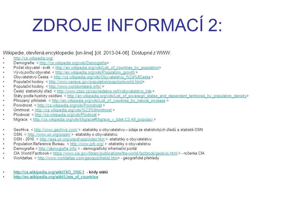 ZDROJE INFORMACÍ 2: Wikipedie, otevřená encyklopedie. [on-line]. [cit. 2013-04-06]. Dostupné z WWW: http://cs.wikipedia.org/ Demografie. http://cs.wik