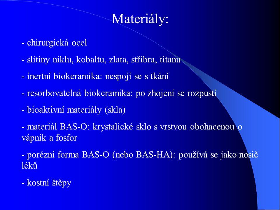 Materiály: - chirurgická ocel - slitiny niklu, kobaltu, zlata, stříbra, titanu - inertní biokeramika: nespojí se s tkání - resorbovatelná biokeramika: po zhojení se rozpustí - bioaktivní materiály (skla) - materiál BAS-O: krystalické sklo s vrstvou obohacenou o vápník a fosfor - porézní forma BAS-O (nebo BAS-HA): používá se jako nosič léků - kostní štěpy