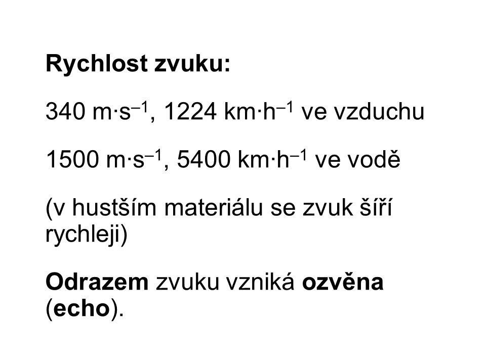 Rychlost zvuku: 340 m∙s –1, 1224 km∙h –1 ve vzduchu 1500 m∙s –1, 5400 km∙h –1 ve vodě (v hustším materiálu se zvuk šíří rychleji) Odrazem zvuku vzniká