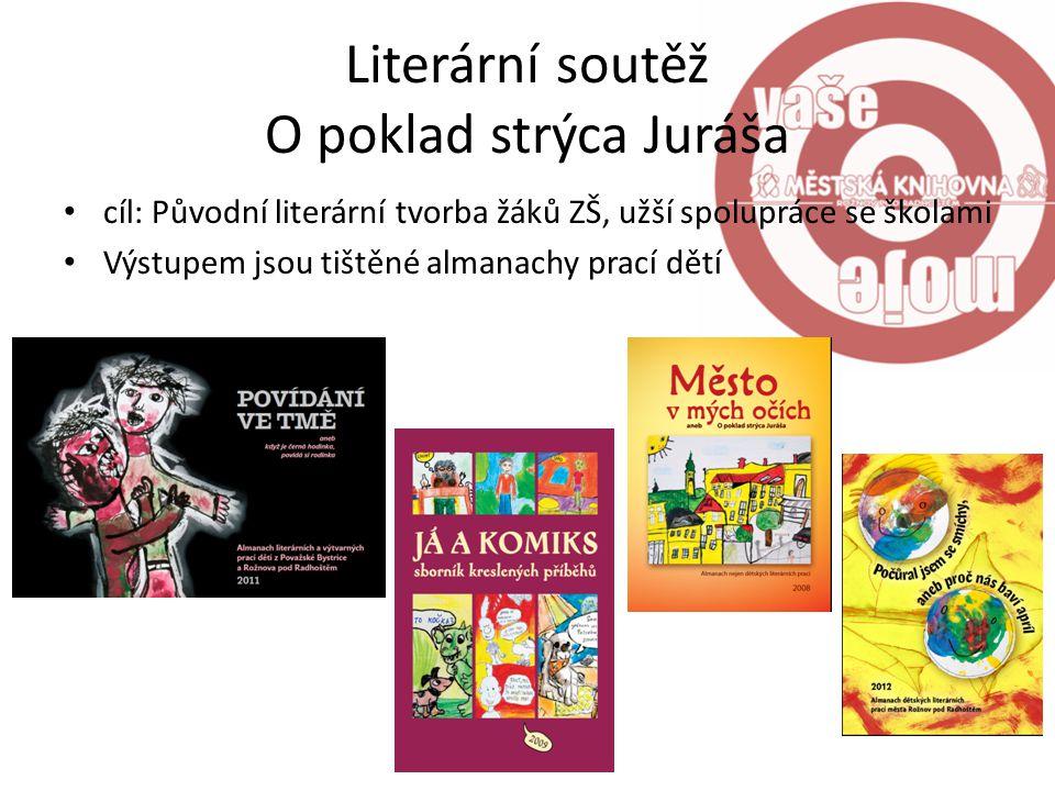 Literární soutěž O poklad strýca Juráša cíl: Původní literární tvorba žáků ZŠ, užší spolupráce se školami Výstupem jsou tištěné almanachy prací dětí