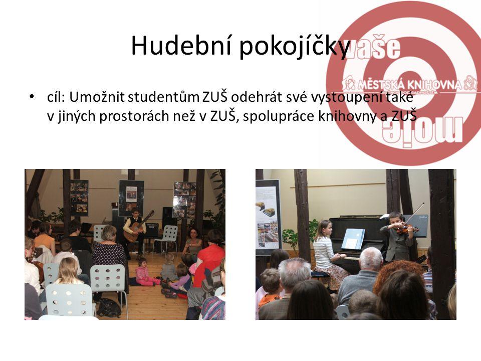 Hudební pokojíčky cíl: Umožnit studentům ZUŠ odehrát své vystoupení také v jiných prostorách než v ZUŠ, spolupráce knihovny a ZUŠ
