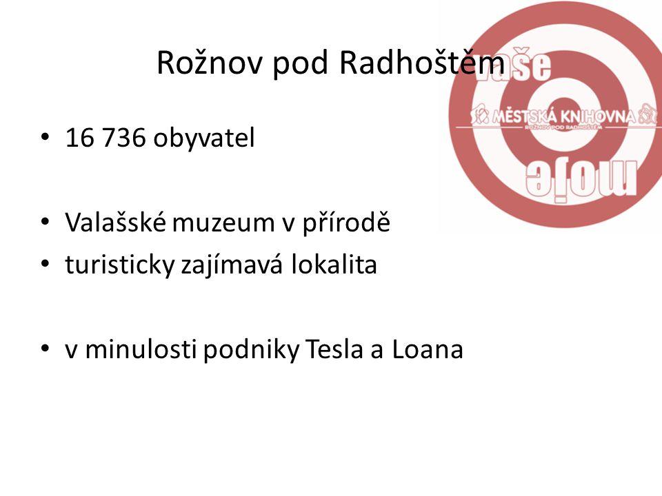 Rožnov pod Radhoštěm 16 736 obyvatel Valašské muzeum v přírodě turisticky zajímavá lokalita v minulosti podniky Tesla a Loana