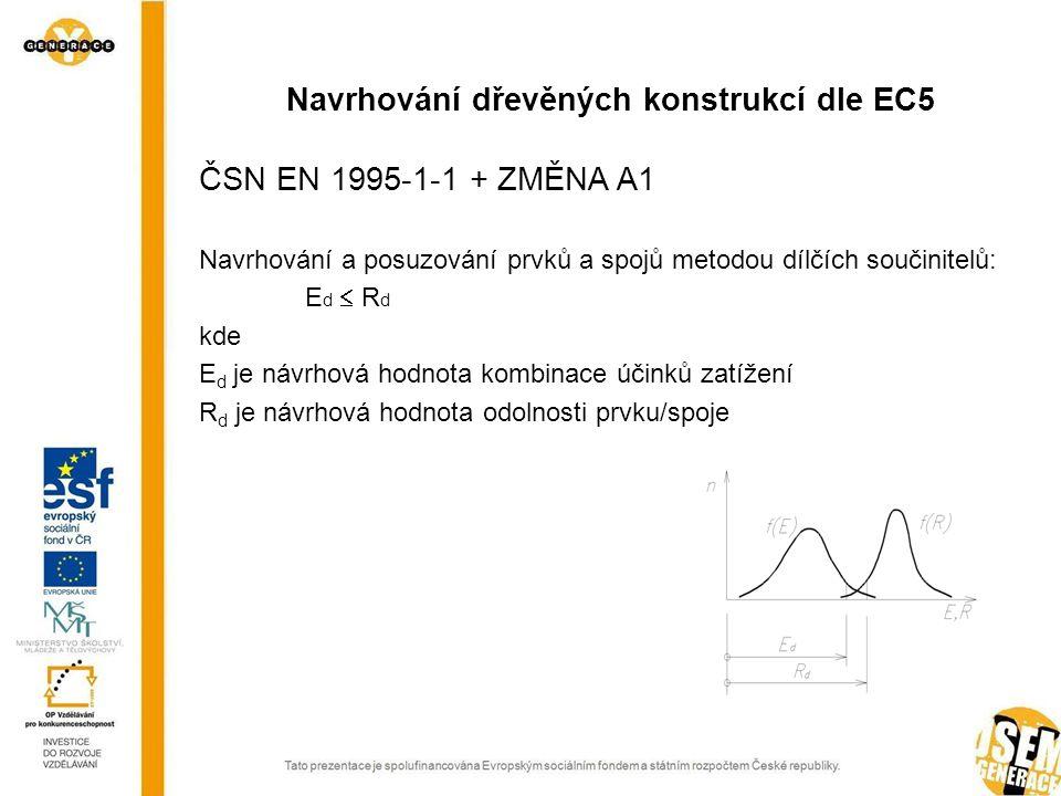 ČSN EN 1995-1-1 + ZMĚNA A1 Navrhování a posuzování prvků a spojů metodou dílčích součinitelů: E d  R d kde E d je návrhová hodnota kombinace účinků zatížení R d je návrhová hodnota odolnosti prvku/spoje Navrhování dřevěných konstrukcí dle EC5