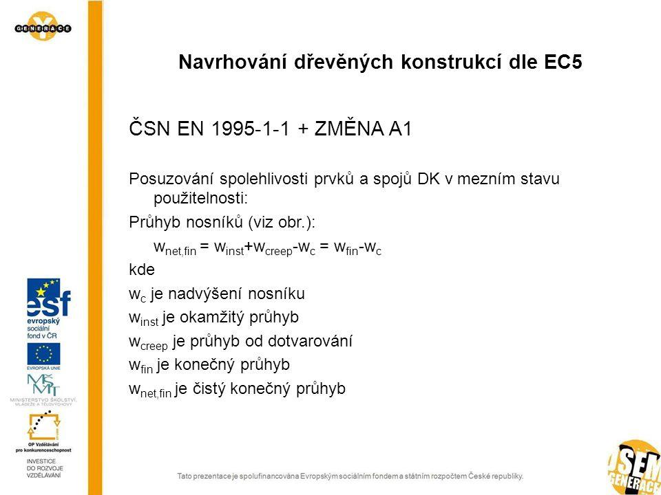 ČSN EN 1995-1-1 + ZMĚNA A1 Posuzování spolehlivosti prvků a spojů DK v mezním stavu použitelnosti: Průhyb nosníků (viz obr.): w net,fin = w inst +w creep -w c = w fin -w c kde w c je nadvýšení nosníku w inst je okamžitý průhyb w creep je průhyb od dotvarování w fin je konečný průhyb w net,fin je čistý konečný průhyb Navrhování dřevěných konstrukcí dle EC5